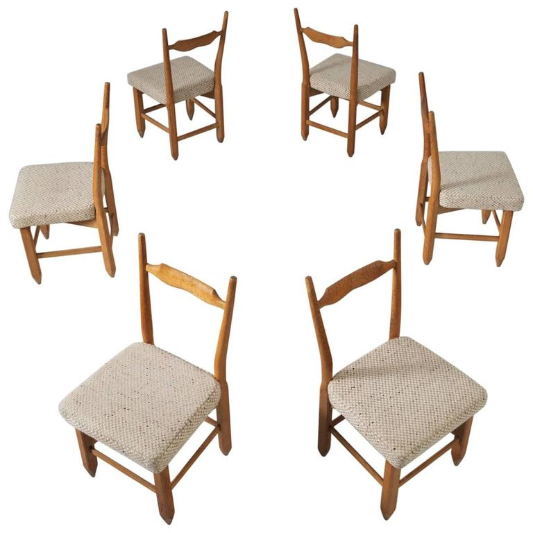 Guillerme & Chambron Set of Six Dining Chairs in Solid Oak