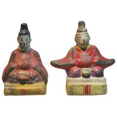 Two Rare Japanese Izumo Clay Dolls of Emperor and Tenjin, Meiji Period