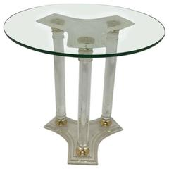 Circular Lucite and Brass Side Table