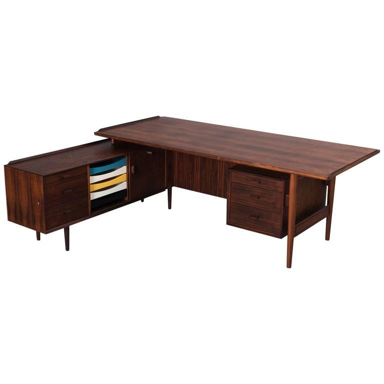 Arne Vodder Executive Desk In Rosewood For Sibast For Sale