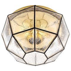 Limburg Flush Mount Light, Brass and Amber Iron Glass, 1960s