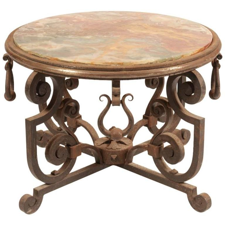 Art Deco French Wrought Iron Coffee Table For Sale At 1stdibs