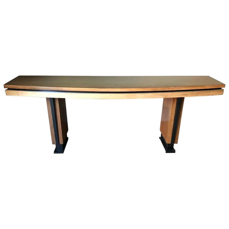 French Palisander and Sycamore Console Table, circa 1960, Metal Legs