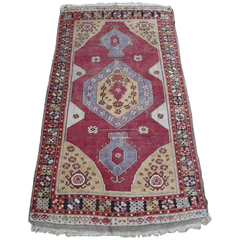 Turkish Rug With Ruby Red Open Field With Lavender And