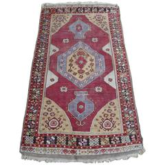 Turkish Rug with Ruby Red Open Field with Lavender and Gold Medallion