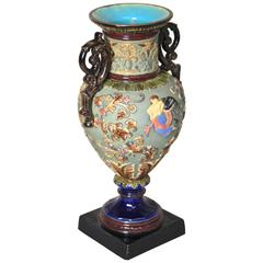 Gorgeous Amphora Vase, Attributed to Wilhelm Schiller & Son, circa 1890