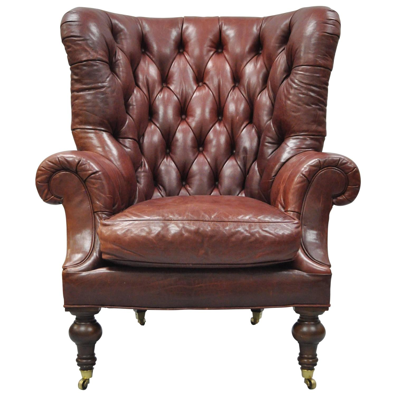 Oversized Lillian August Brown Tufted Leather English Chesterfield Wing  Chair For Sale at 1stdibs - Oversized Lillian August Brown Tufted Leather English Chesterfield