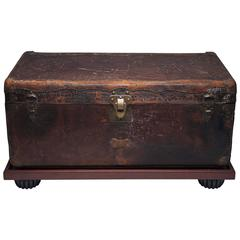 Antique Louis Vuitton Leather Wardrobe Steamer Trunk, circa 1900