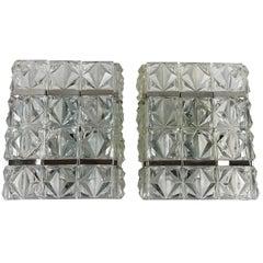 Pair of Kinkeldey Style Sconces Glass and Chrome - SALE