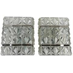Pair of Kinkeldey Style Sconces Glass and Chrome