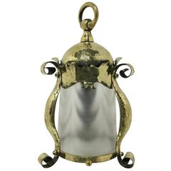 Arts and Crafts Hammered Brass Lantern with Opaque Ribbed Glass Liner