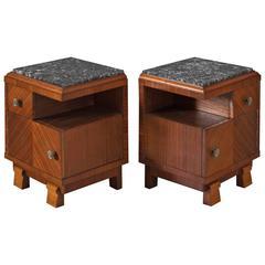 Art Deco Set of Two Nightstands in Mahogany