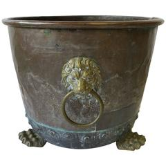 Antique English Brass and Copper Firewood Log Holder with Lion Details