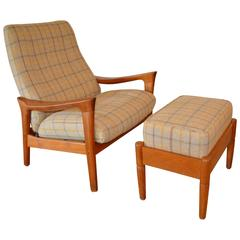 Danish Mid-Century Wood Framed Recliner with Ottoman