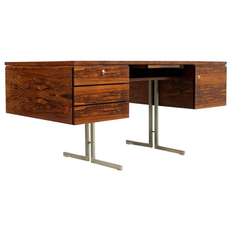 Amazing 1960s Mid Century Modern Writing Table Rosewood