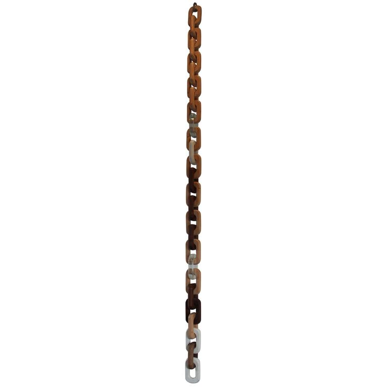 Chain Decorative Object Hanging Sculpture in Walnut, Fir, Concrete and Resin For Sale