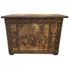 Gilt Metal Embossed Chest, Neo Renaissance Work, Mid-20th Century