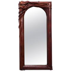 Sculptural Leather Wall Mirror