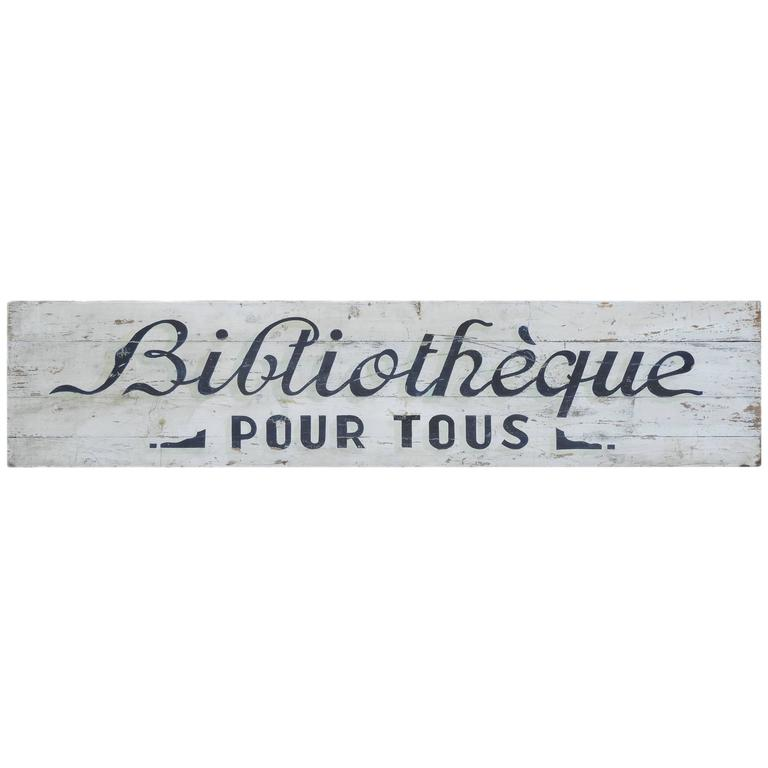 French Folk Art Library Sign Painted Wood Boards Biblioteque, Early 20th Century