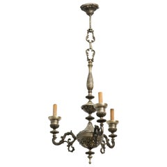 French Style Three-Arm Silver Plate Chandelier