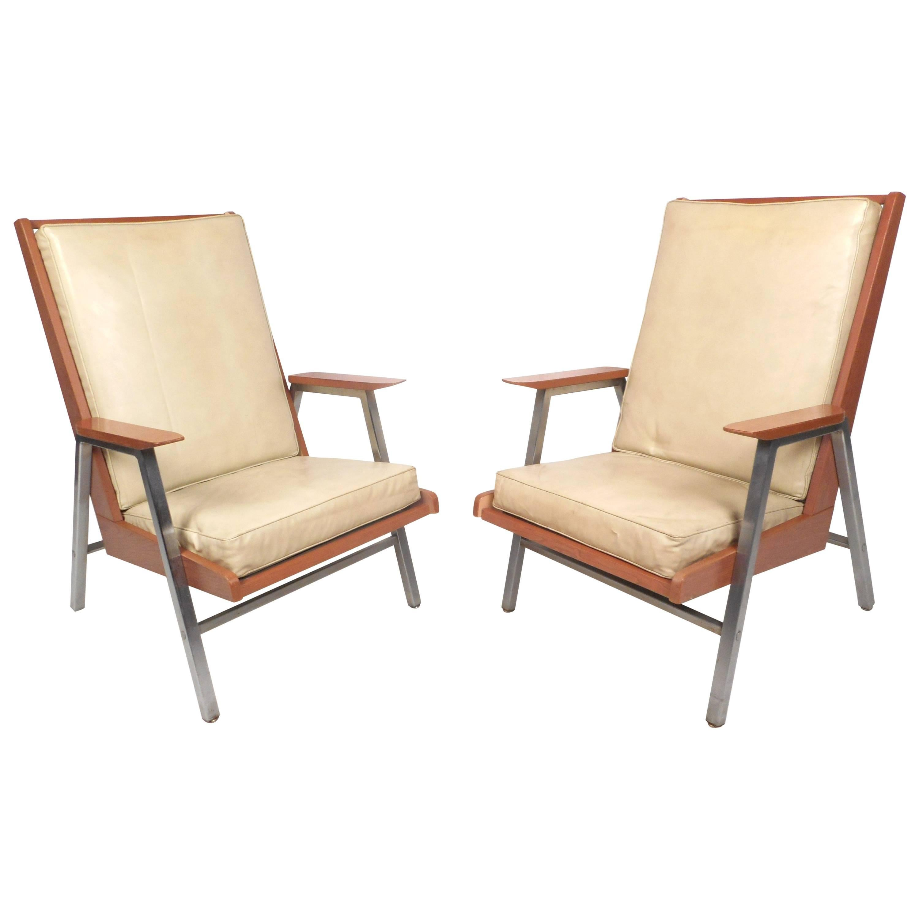 Mid-Century Modern Lounge Chairs by Royal Metal Company