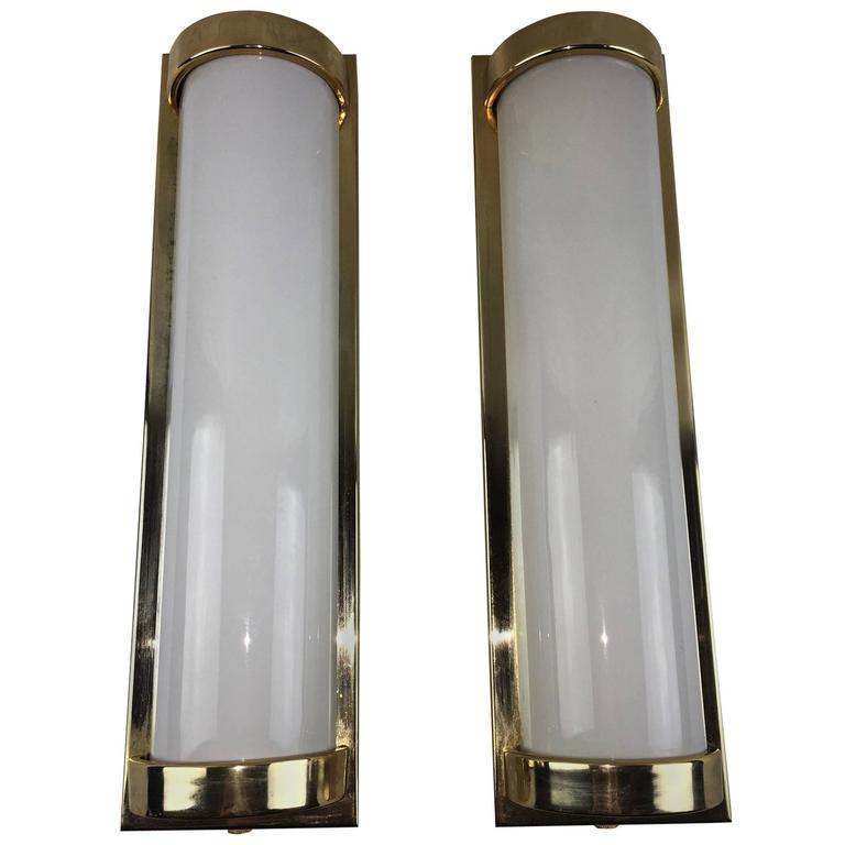 Pair of Modern Milk Glass Sconces For Sale at 1stdibs