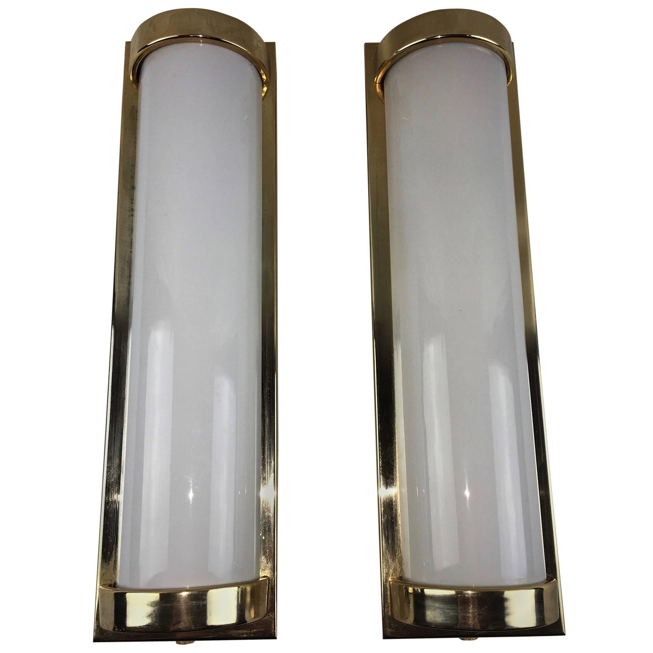 Pair of Modern Milk Glass Sconces