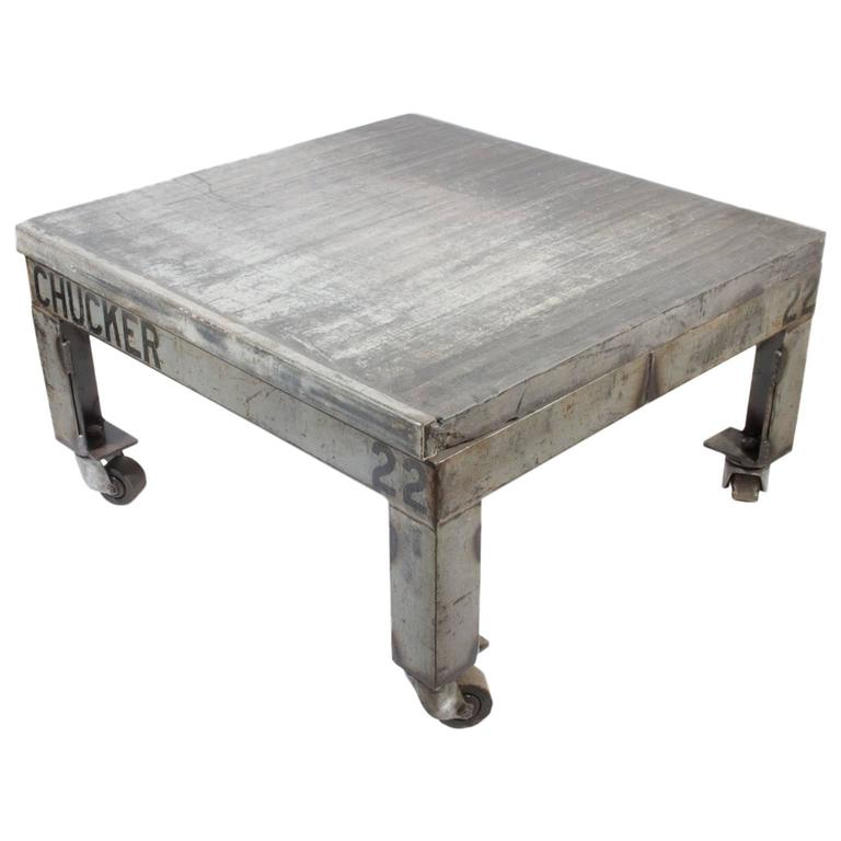 Vintage Belgian Bricklayer 39 S Pallet Industrial Square Cocktail Table With Wheels For Sale At 1stdibs