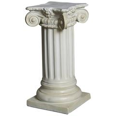 Greek Style Plaster Pedestal or Column with Chapiteau in New Ionic Order