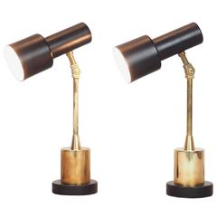 Pair of Original Stilnovo Table Lamps  with a Catchy Brass Base Milano  1950s