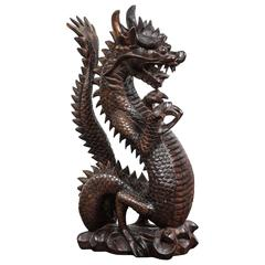Wooden Sculpture of a Roaring Chinese Dragon