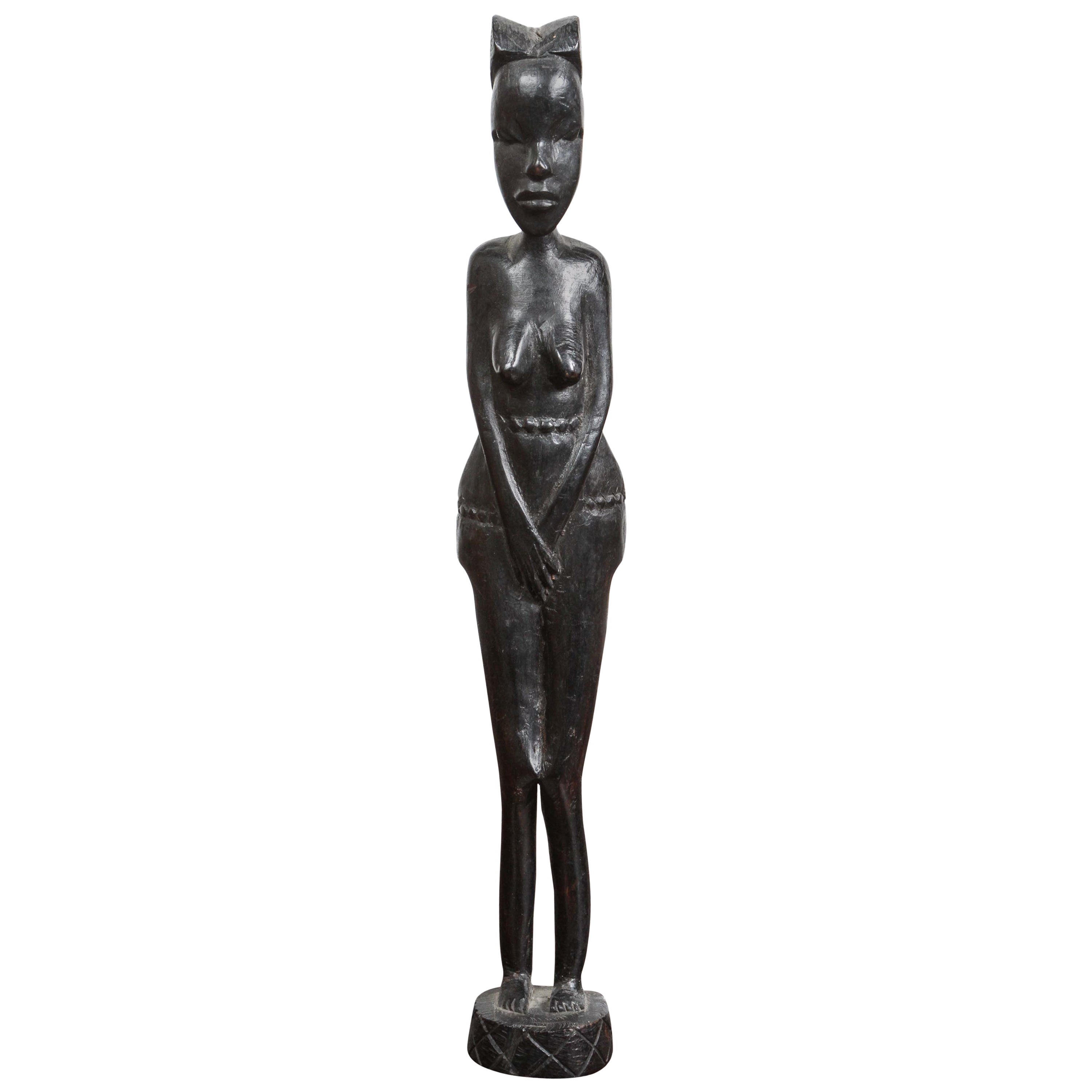 Decorative Hand-Carved African Statue from Kenya