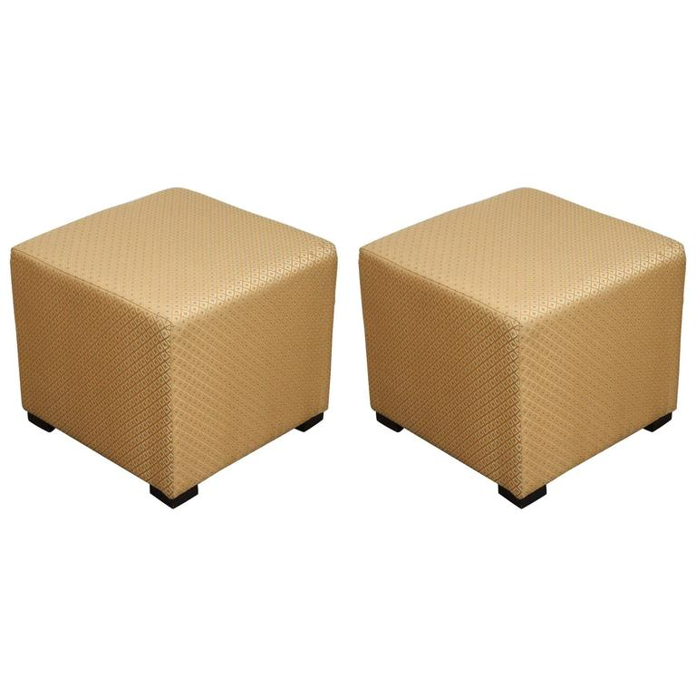Pair Of Gold Cube Upholstered Moroccan Ottomans Poufs For Sale At Magnificent Poufs On Sale