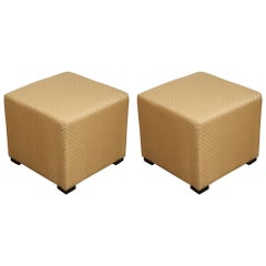 Pair of Gold Cube Upholstered Moroccan Ottomans, Poufs