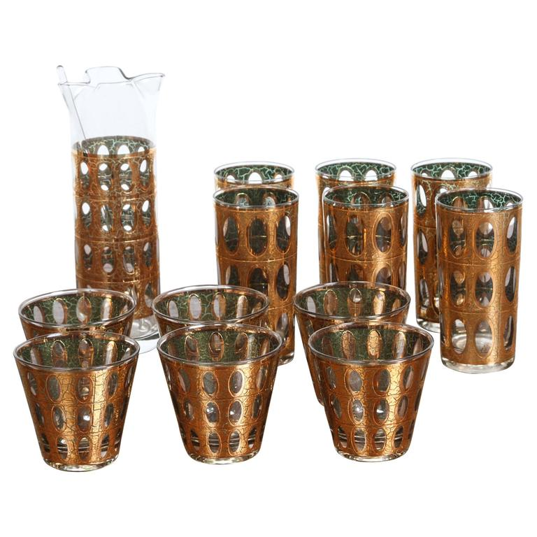 vintage mid century culver pisa barware cocktail set at 1stdibs