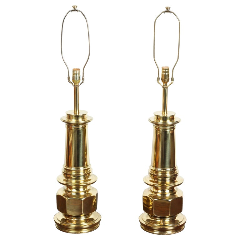 Pair of Polished Gold Brass Table Lamps For Sale
