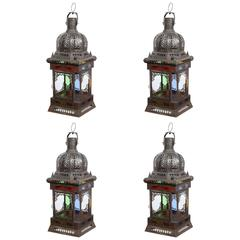 Moroccan Metal and Glass Candle Lantern, Set of Four