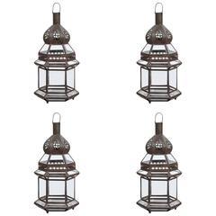 Moroccan Metal and Clear Glass Lanterns, Set of four