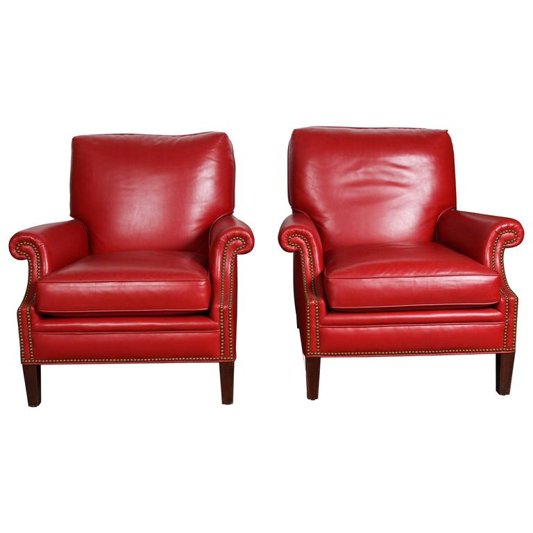 Pair of Red French Club Leather Lounge Armchairs