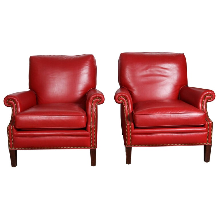 Pair Of Red French Club Leather Lounge Armchairs For Sale At 1stdibs