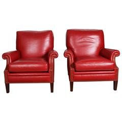 Pair of Red Leather French Club Lounge Armchairs