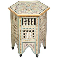 Moroccan Side Table Hand-Painted in Ivory and Blue Colors