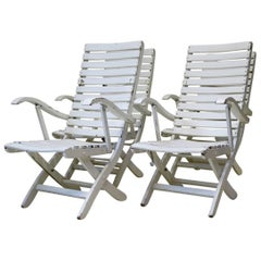 Set of Four Folding Wooden Deck Chairs, France, circa 1950s