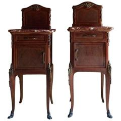 Antique French Bedside Tables Pair Louis XV Style Side Mahogany Marble