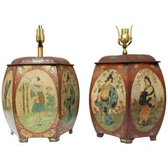 Pair of Chinese Painted Tin Tea Containers, Mounted as Lamps