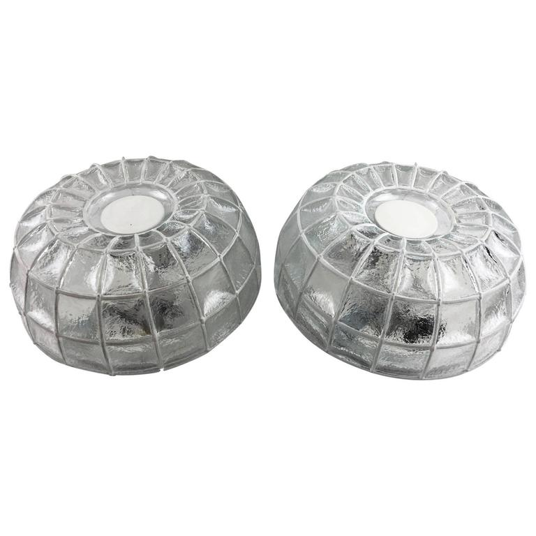 Pair of Limburg Honeycomb Iron and Clear Glass Flush Mount For Sale