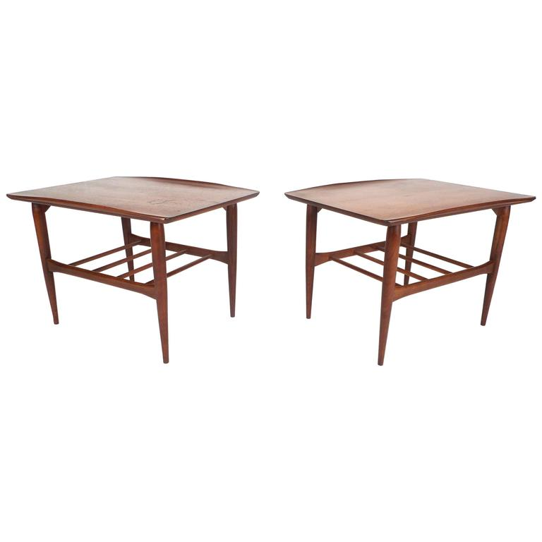 Vintage Walnut End Tables By Basset Furniture Company For Sale