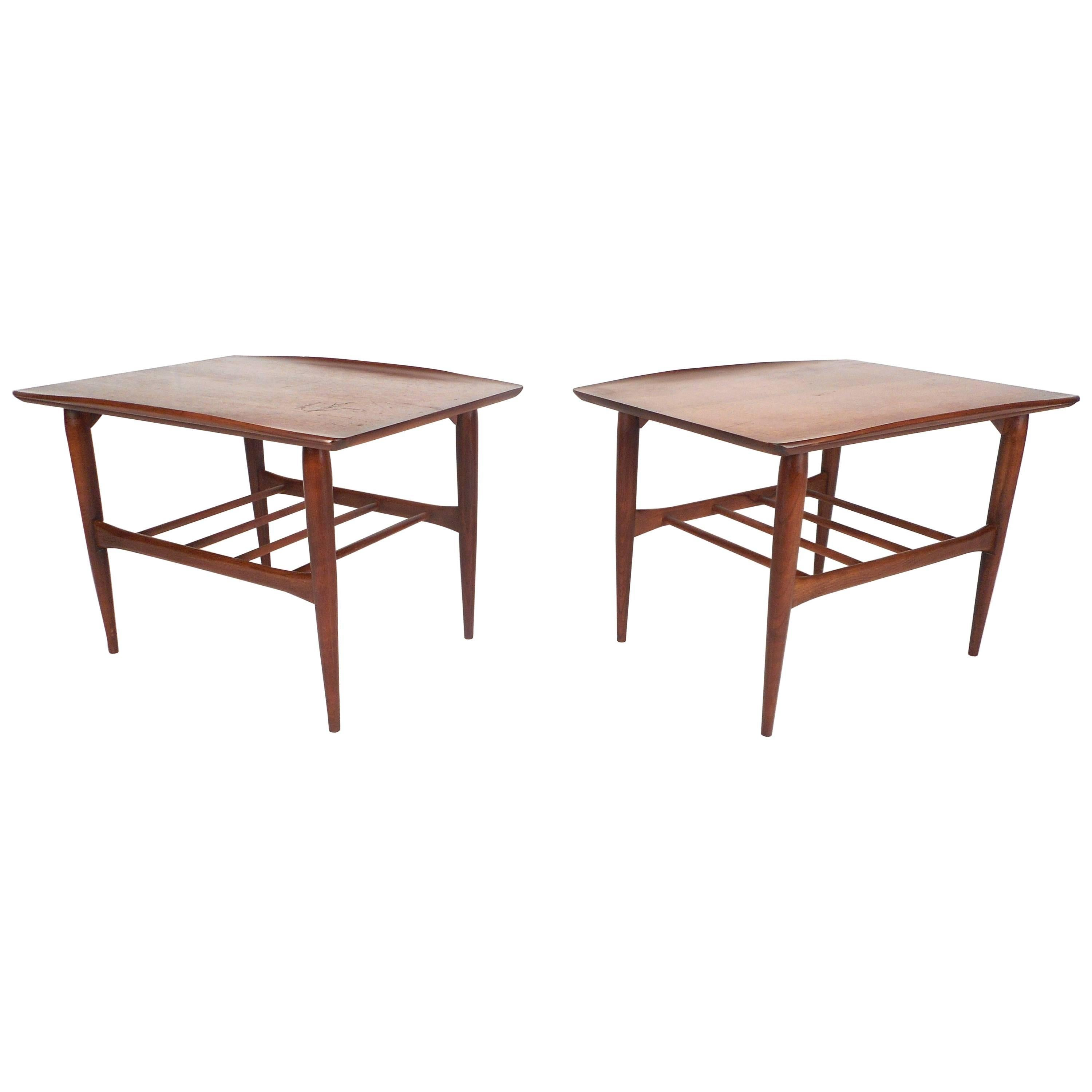 Vintage Walnut End Tables By Basset Furniture Company