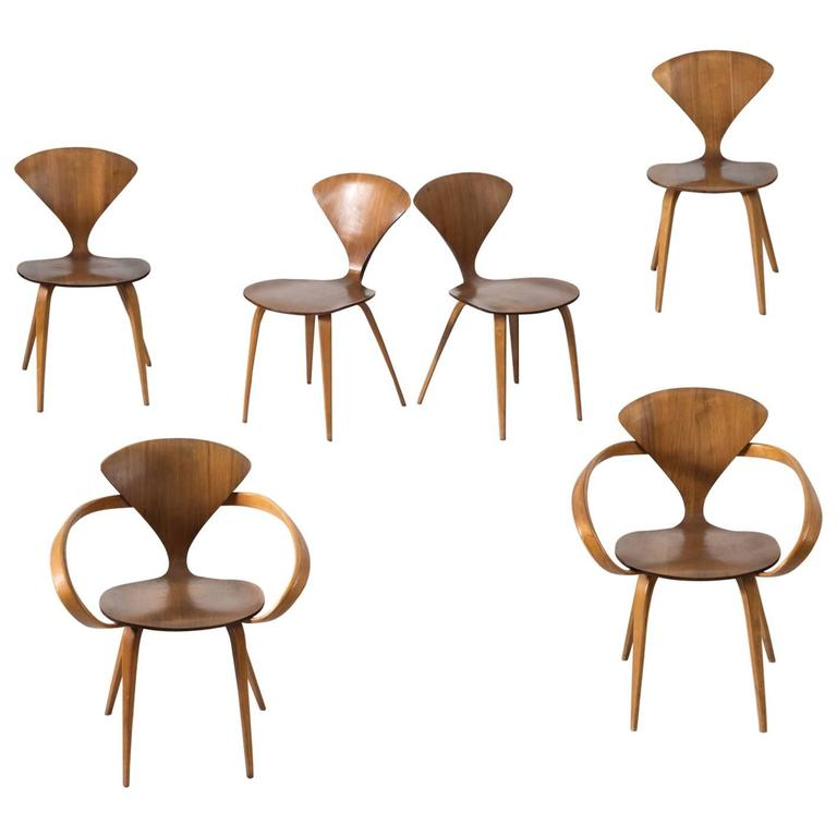 Norman Cherner Set of Six Dining Chairs in Walnut