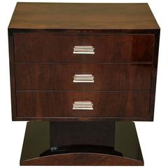 Art Deco French Chest of Drawers or Side Table in Walnut